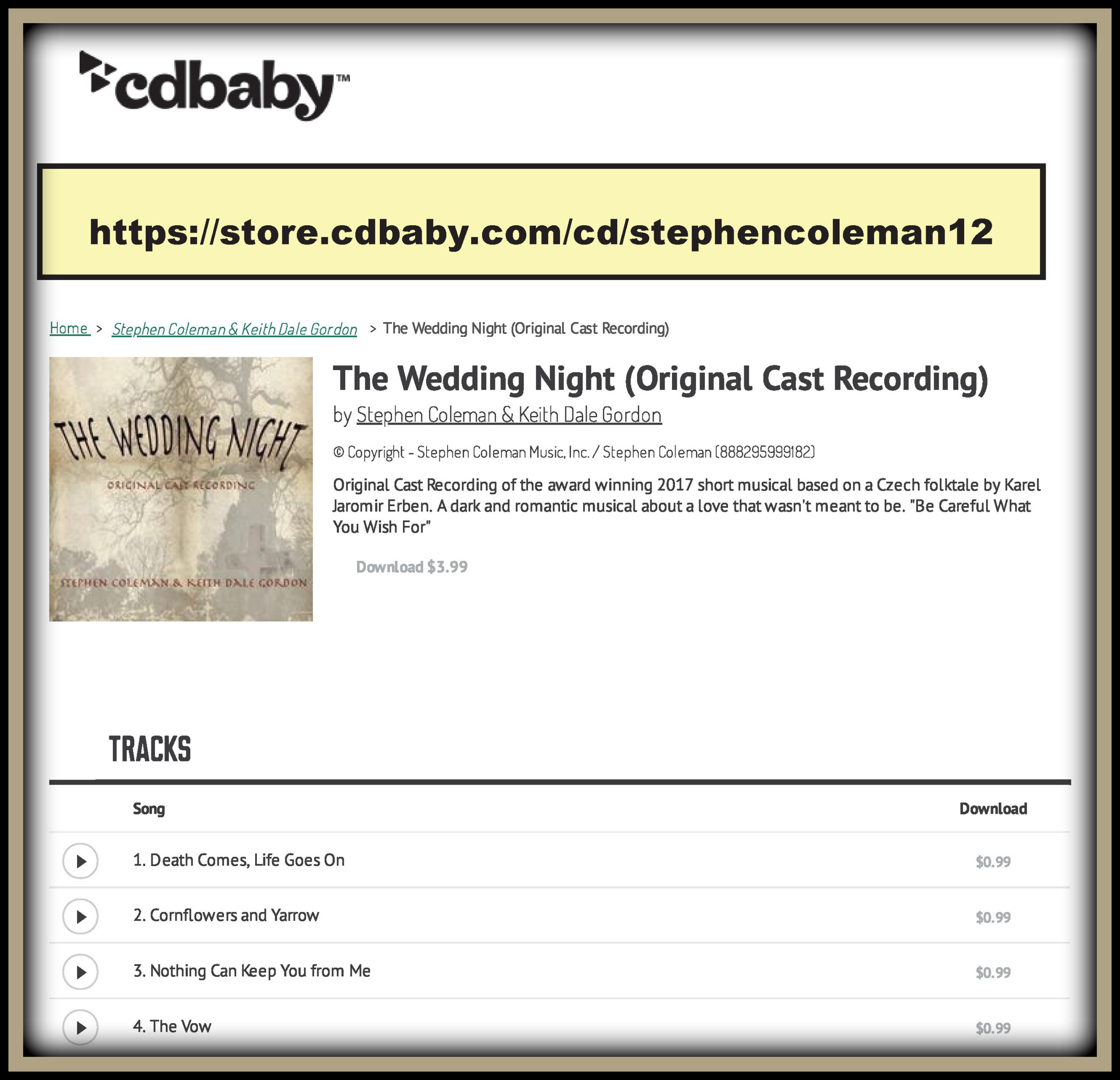 Original Cast Recording of The Wedding Night on ITunes and CDBaby